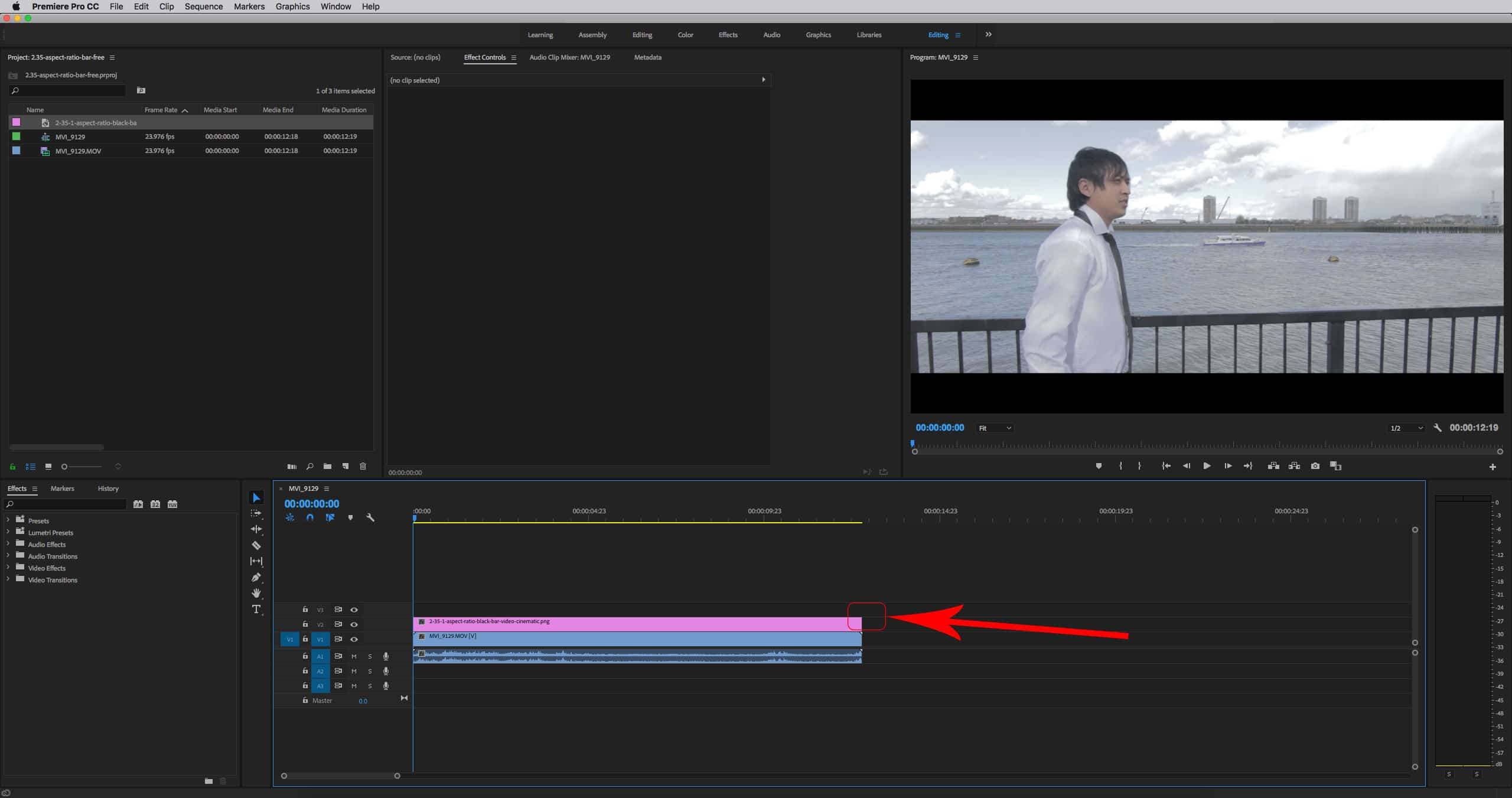 FREE 2 35:1 Aspect Ratio Black Bar For Adobe Premiere Pro, After